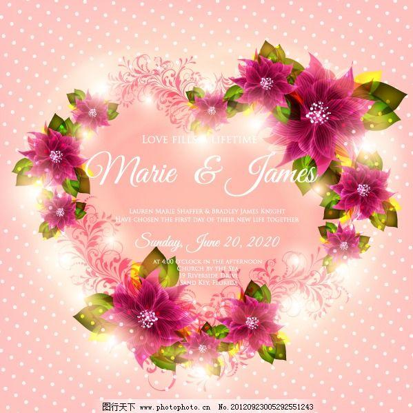 矢量玫瑰心形花圈背景 矢量玫瑰心形花圈背景免费下载 底纹图案 浪漫