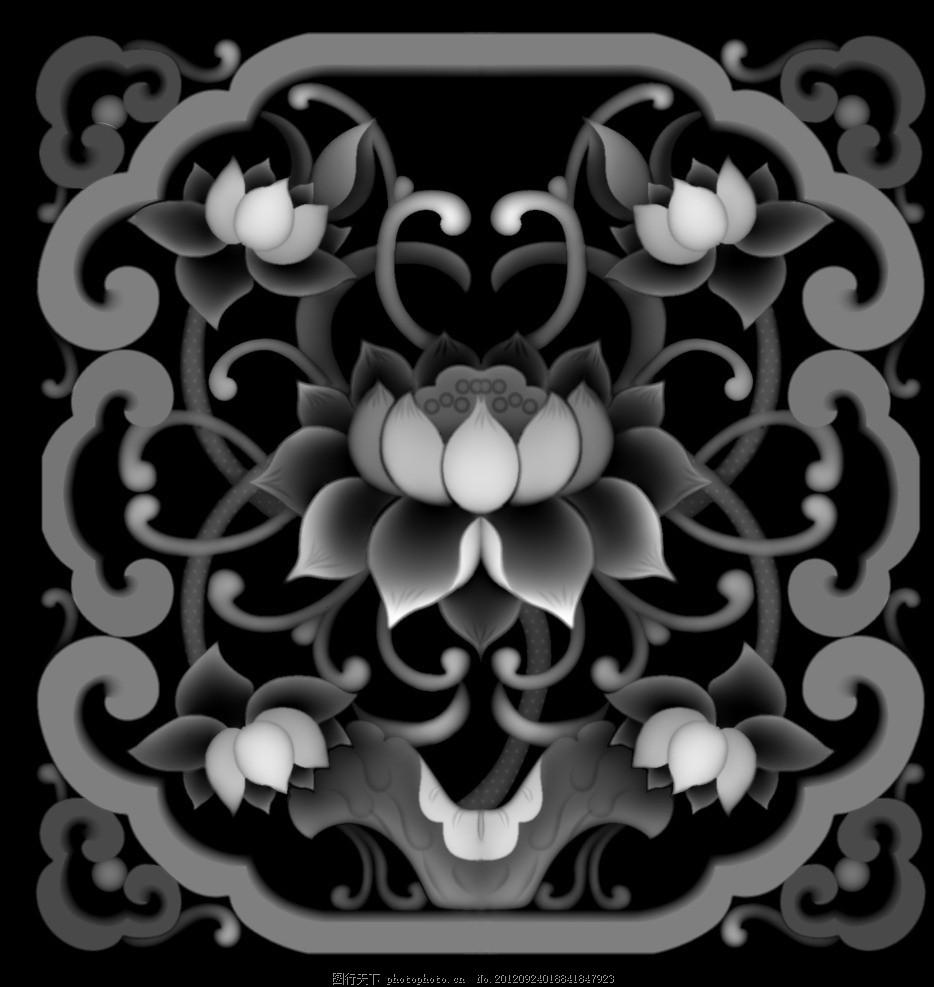 花鸟图 荷花 木雕 莲 莲花 雕刻图 灰度图 浮雕灰度图