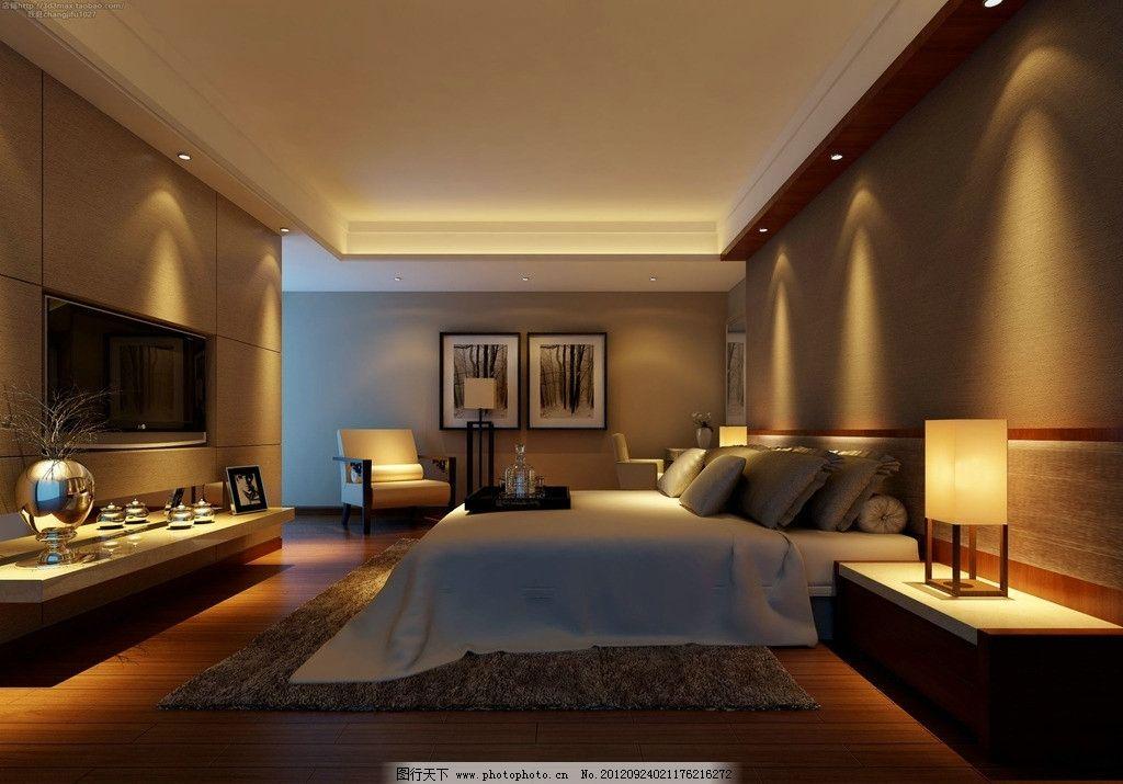 卧室设计 床 电视 灯光 效果图 室内设计图片