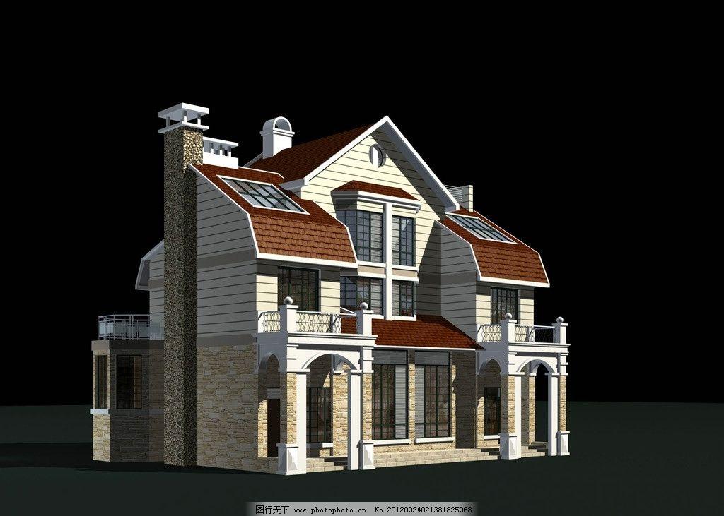 欧式别墅模型 欧式 别墅 烟囱 坡屋顶 max 源文件 三维模型 柱廊 窗户