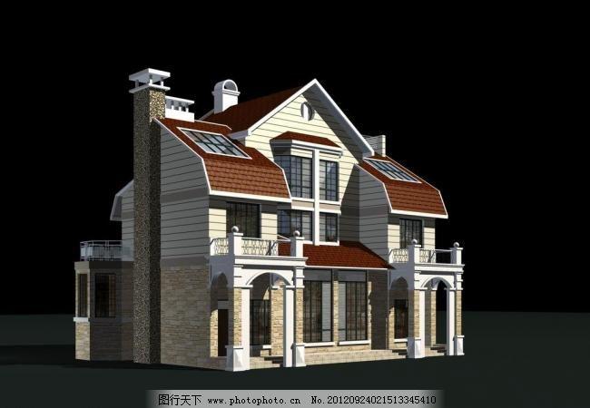 三维模型 室外模型 烟囱 源文件 欧式别墅模型 欧式 别墅 烟囱 坡屋顶