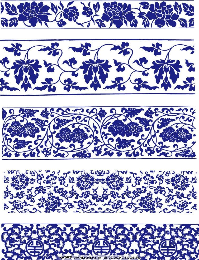 青花 青花瓷花纹 青花瓷图案 瓷器 陶瓷花纹 陶瓷纹样 陶瓷 花纹 手绘