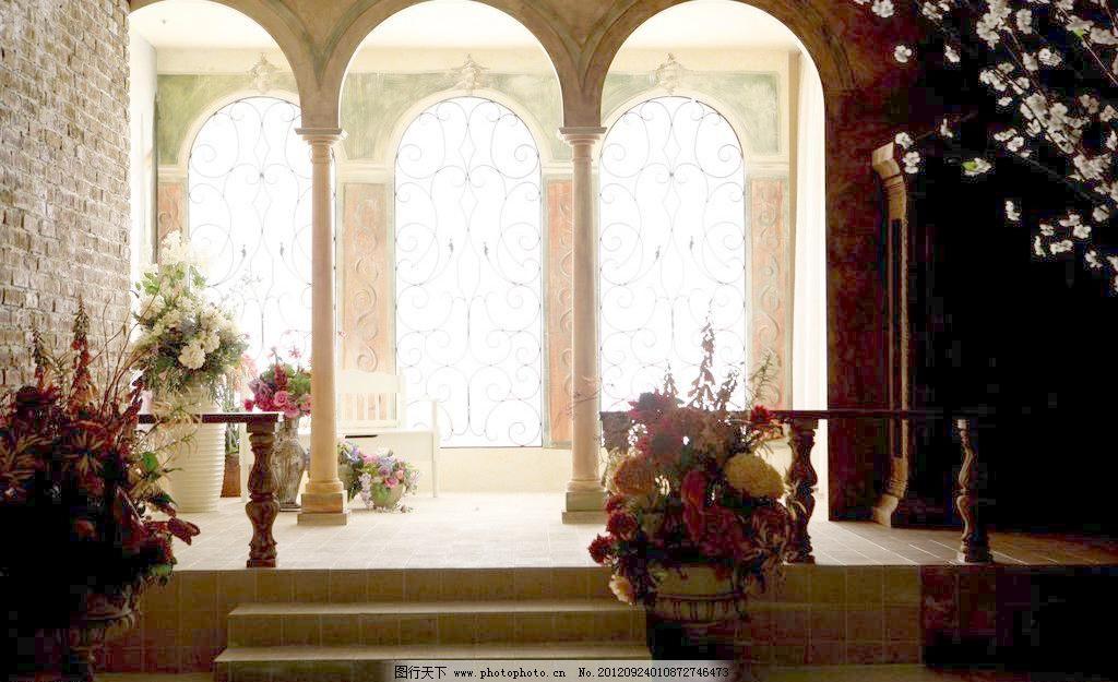 欧式拱门背景图片