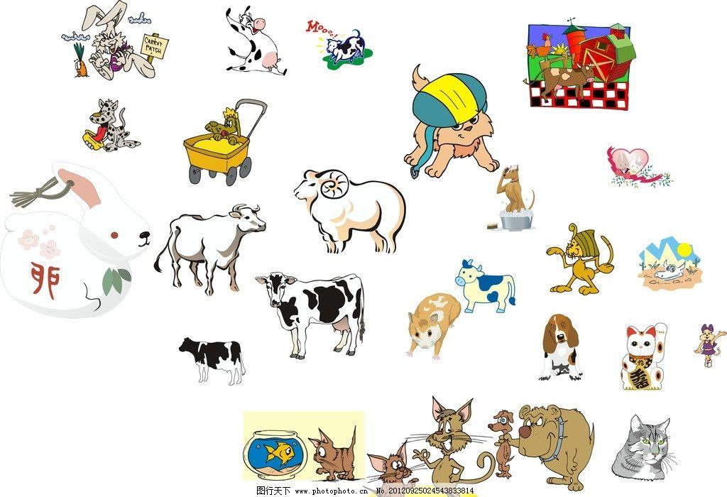 各种矢量小动物图片_家禽家畜