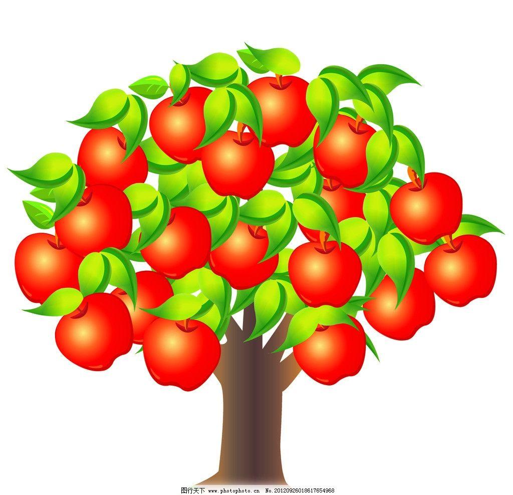 苹果树 卡通 红苹果 其他 动漫动画 设计 100dpi jpg