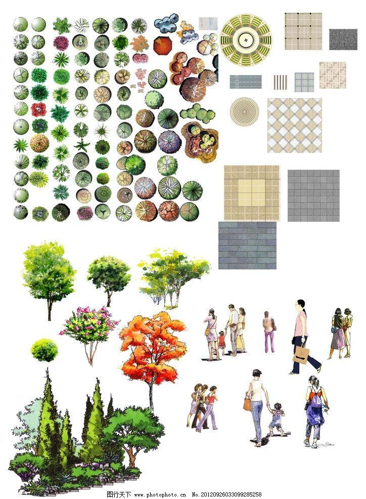 树 铺装 人物 景观平面树 石材 立面的树 手绘效果 景观素材 psd分层