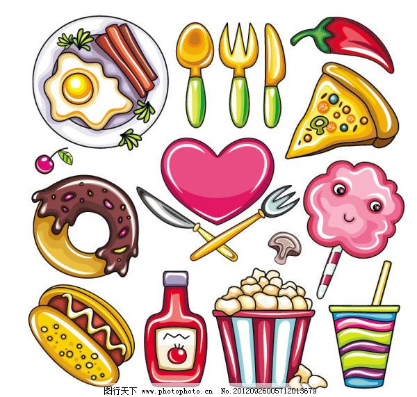 可爱手绘食物矢量素材免费下载