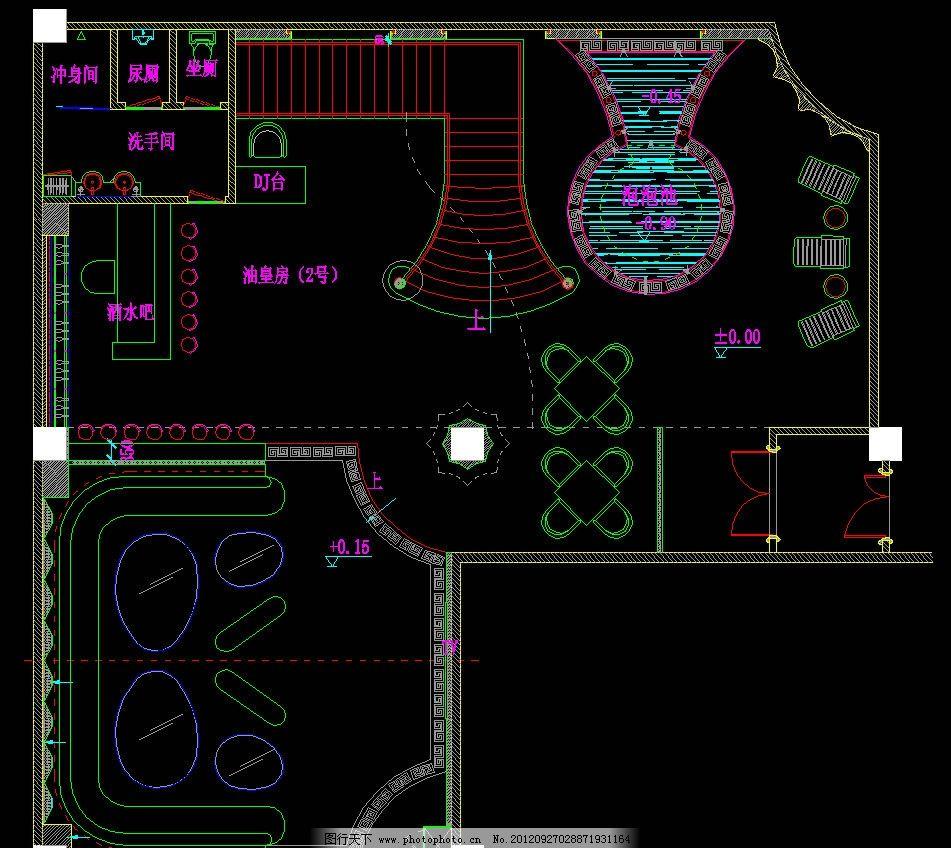 五层会员区油皇房 插座图图片_施工图纸_环境设计_图