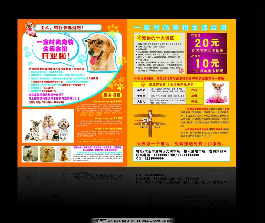 宠物店宣传单 狗 动物 木质指示牌 背景 广告设计 矢量