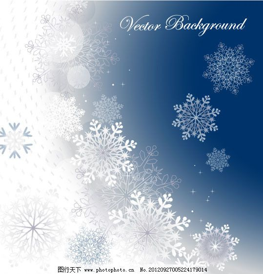 冬日雪花背景矢量素材
