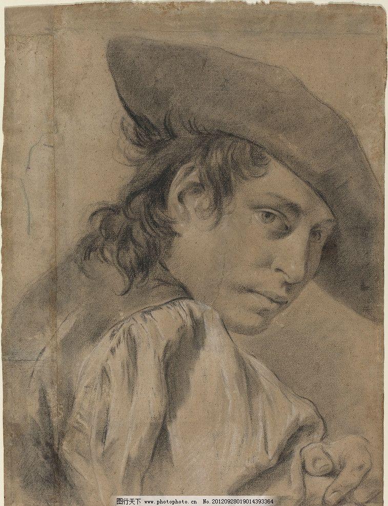 素描 高清 大师 男青年 古典 帽子 绘画书法 文化艺术 设计 300dpi