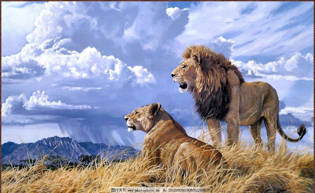 云 凶猛 狮王 猛兽 食肉动物 欧美 画芯 装饰画 立体画 壁画 绘画作品