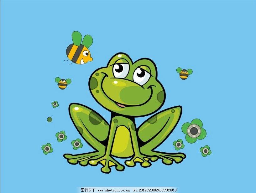 青蛙和蜜蜂 青蛙 蜜蜂 卡通 可爱 小花 微笑 儿童素材 卡通素材 幼儿