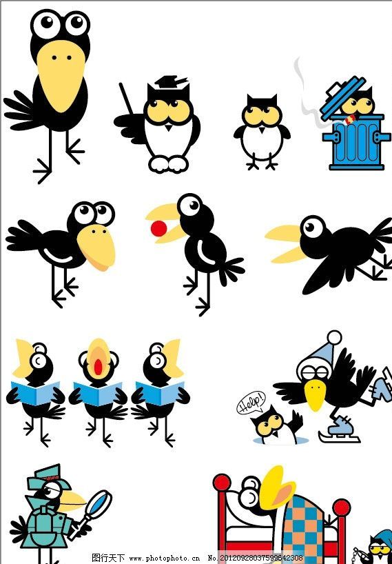 生活百科 电脑网络  可爱乌鸦 乌鸦 猫头鹰 警探 睡觉 歌唱 动物形象