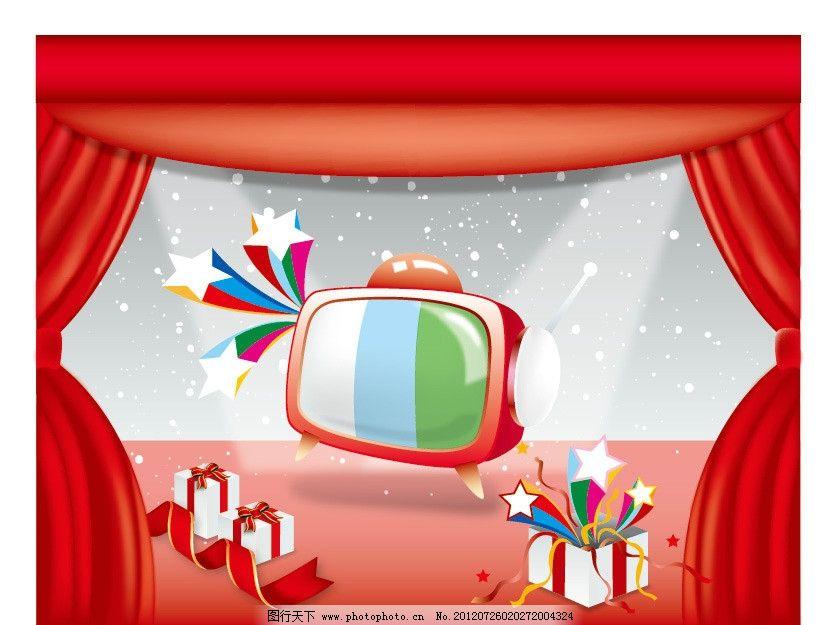 创意促销广告设计,电视机,礼物,礼品盒,五角星,彩带,红色